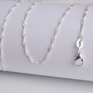 """Silver """"Water Wave"""" Chain Necklace 18"""""""